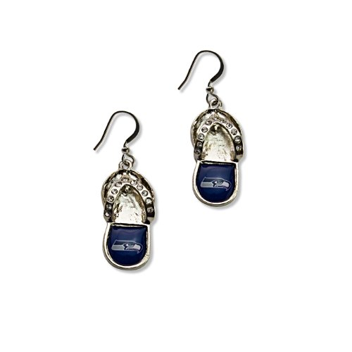 NFL Seattle Seahawks Flip Flop Crystal Earrings at Amazon.com