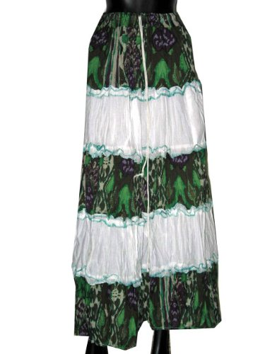 Casual Skirts-White Green Color Printed Elastic Skirts Comfortable Indian Clothing 38inch Free Shipp