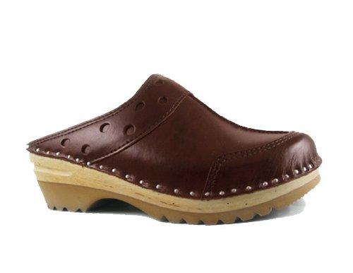 Troentorp Women'S Båstad Durer Cola Leather Clogs 38 Eu