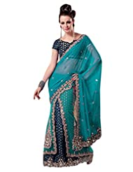 Indian Saree Sari Ethnic Designer Embroidered Sea Green By Triveni - Buy 1 Get 1 Free Combo