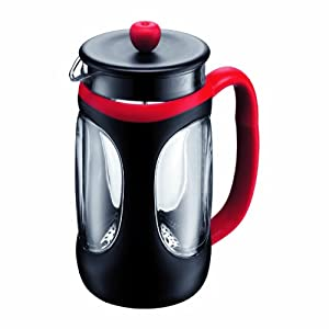 Bodum Young Press Shock Resistant French Press Coffee Maker, 1.0-Liter, 34-Ounce, Red/Black