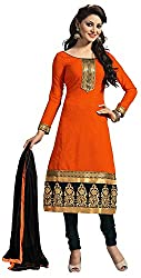 Airboyz Women's Art Silk Unstitched Dress Material (Orange)