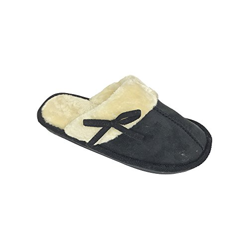 Womens Microsuade Slide Slippers with Matching Bow and Faux Fur Cuff - Black Large