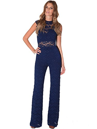 Nightcap Clothing Womens Dixie Lace Cat Suit in Navy