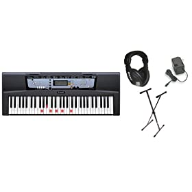 Yamaha EZ200 61 Full-Sized Touch Sensitive Lighted Keys Bundle -  Professional Headphones, Keyboard Stand, and Power Supply