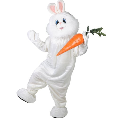Forum Deluxe Plush Bunny Rabbit Mascot Costume, White, One Size