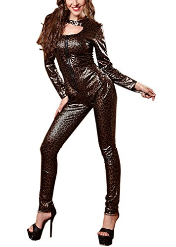 JinYe Women's Halloween Sexy Cat Leopard Costume Cosplay Dance Jumpsuits Club