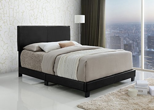 Find Cheap Black Bonded Leather Queen Size Upholstered Headboard Footboard