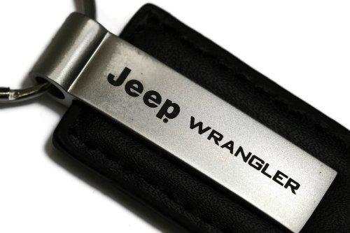 jeep-wrangler-cuir-noir-authentique-porte-cles-logo-porte-cle-avec-dragonne-et-porte-cles