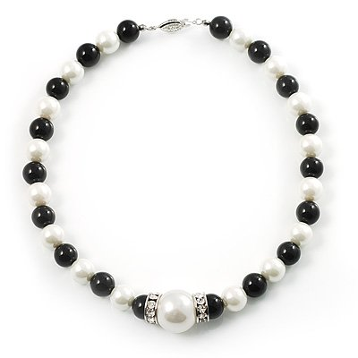 Black&White Pearl Style Choker Necklace