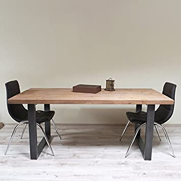 Tile, stile industriale U-Tavolo da pranzo, Maiko (Light Walnut)-Black (Mild steel), 8 seater W180xD80xH75cm