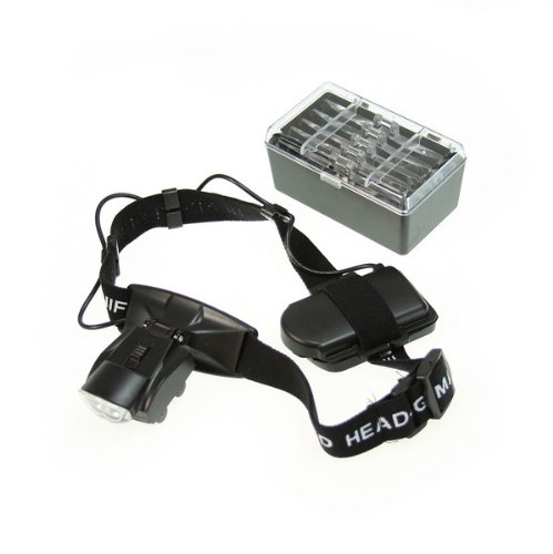 BestDealUSA 2 LED Head Headband Illuminating Magnifier Magnifying Eye Glass Black