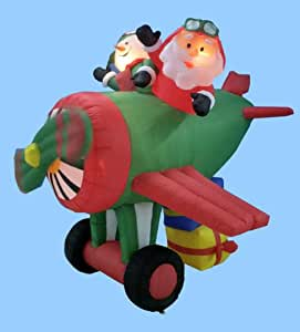 6' Airblown Inflatable Animated Santa Claus Airplane Lighted Christmas Yard Art