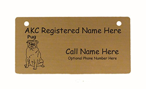C3758 Pug Sitting Crate Tag Personalized with Your Dog's Name