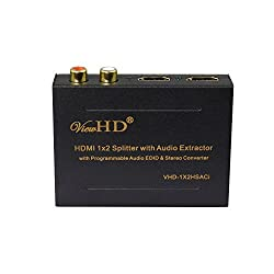 ViewHD HDMI 1x2 Splitter with Integrated Audio Extractor with RCA L/R Stereo and Optical Audio Outputs | VHD-1X2HSACi