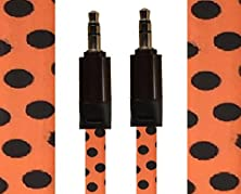 buy Cablesfrless 3Ft 3.5Mm Patterned Tangle Free Auxiliary (Aux) Cable (Polka Dot Orange)