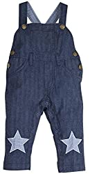 Oye Boys Full Length Dungaree with Applique - White/Navy (18-24M)
