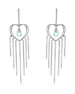Genuine Morne Rouge (TM) Earrings. Cubic Zirconia Sterling Silver Heart Earrings - Material/Stone: Cubic Zirconia. 3.9 Grams in Weight and 65 mm in Length. 100% Satisfaction Guaranteed.