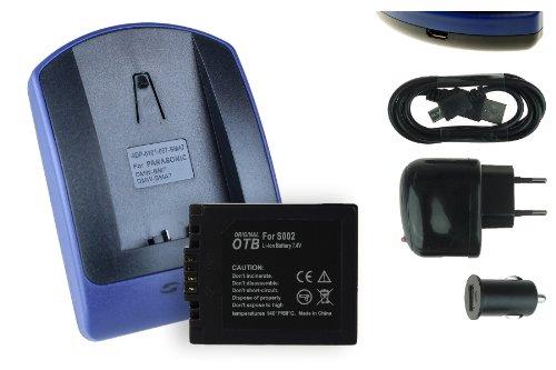 Akku + Ladegerät (Netz+Kfz+USB) für Panasonic S002 // Lumix DMC-FZ1, FZ2, FZ3, FZ4, FZ5, FZ10, FZ15, FZ20