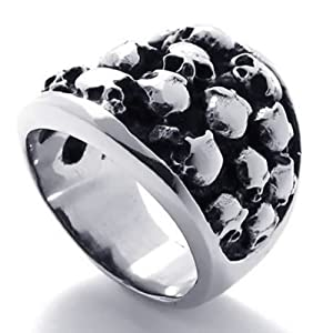Konov Jewellery Mens Gothic Vintage Stainless Steel Skull Ring, Colour Black Silver, Size X (with Gift Bag)