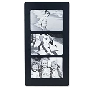 Lawrence Frames Black Wood 6x4 Multi Triple Horizontal Picture Frame