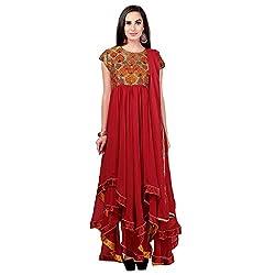 Jinaam Women's Silk Semi-Stitched Dress Material (jess 30_Red_Free Size)