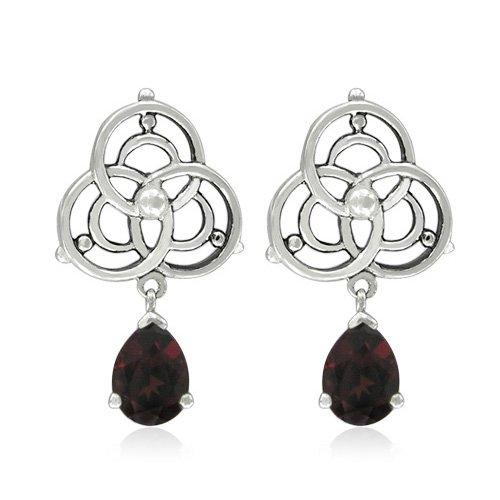 Sterling Silver Celtic Marquise-Shaped Garnet Earrings
