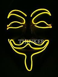 THINKER® Emazing Lights V for Vendetta Guy Fawkes Halloween Light Up Mask (Yellow)