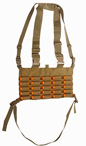 Ultimate Arms Gear Tactical Desert Tan Chest Rig 25 Round 12 & 20 GA Gauge Elastic Universal Shotgun Shot Shell Cartridge Ammo Ammunition Holder Carrier Hunting Harness Vest with Hidden Internal Document Map Utility Pocket (Soe Micro Rig compare prices)