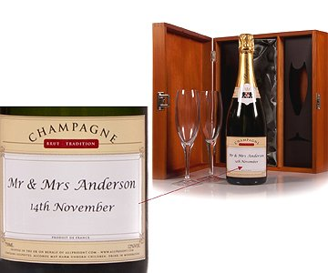 Personalised Champagne with Glass Flutes