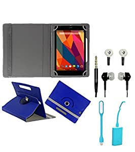 Gadget Decor (TM) PU Leather Rotating 360° Flip Case Cover With Stand For Iball slide D7061 + Free USB Led Light + Free Handsfree( Without Mic) - Dark Blue