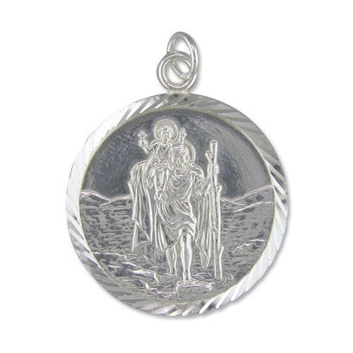 Childrens Sterling Silver Extra Large Diamond Cut Round St Christopher Pendant On A 16 Inch Curb Necklace