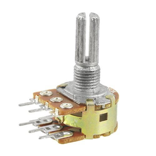 Amico B50K 50K ohm 6 Terminals Linear Dual-Rotary Taper Potentiometer