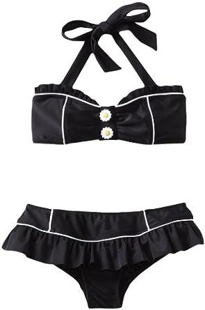 Seafolly Big Girls'  Mini Tube Bikini Swimsuit, Black, 8