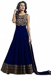 Shiv Fashion Women's Net Dress Material - Boat Neck Blue suit_Blue