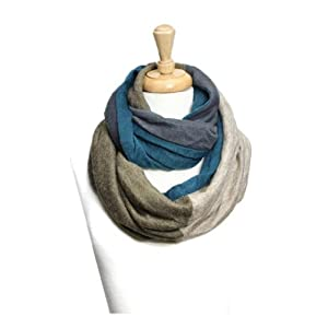 Trendy Knitted Color Block Infinity Scarf (Blue)