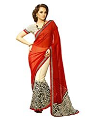 AG Lifestyle Beige & Red Georgette Saree With Unstitched Blouse SNS233B