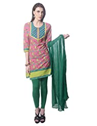 Saving Tree Pink Cotton A Line Suit With Matching Contrast Legging And Dupatta - B00QIEI2KC