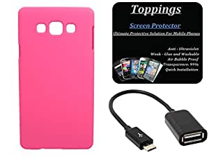 Toppings Hard Case Cover With OTG Cable & Screen Guard For Samsung Galaxy S5 - Pink