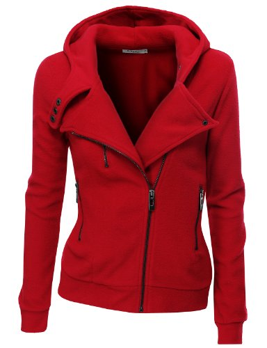 Doublju Women's Fleece Zip-Up High Neck Jacket,PWD005_Red,X-Large