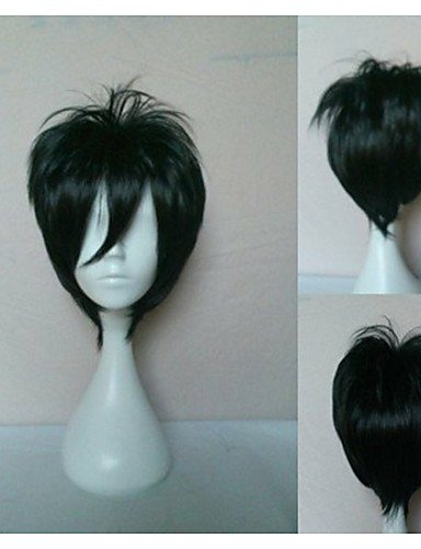 Wigs have an attractive convenience fashion Wonderful Cosplay Wig Short Straight Oblique Bangs Synthetic Hair Wigs Natural Animated Party Wigs 6 (Quincy Ma Mall)