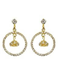 DollsofIndia Pair Of Stone Studded And Gold Plated Metal Ring Earrings - Metal - White