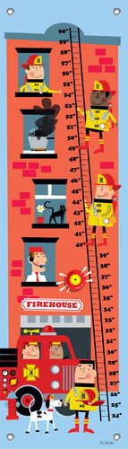 "Oopsy Daisy Growth Chart, Firemen to The Rescue, 12"" x 42"""