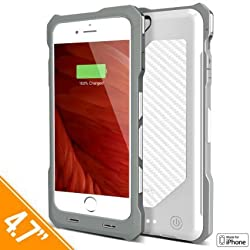iPhone 6S Battery Case, iPhone 6 Battery Case, Heavy-Duty & Rugged Alpatronix [BX150] MFi Apple Certified 3500mAh Shockproof Rechargeable Case [Full Support iOS 9+ & Apple Pay] - (White Carbon Fiber)