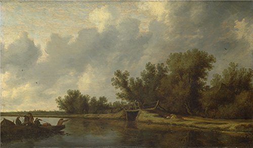 The Perfect Effect Canvas Of Oil Painting 'Salomon Van Ruysdael A River Landscape With Fishermen ' ,size: 20 X 34 Inch / 51 X 86 Cm ,this Vivid Art Decorative Prints On Canvas Is Fit For Dining Room Decoration And Home Artwork And Gifts