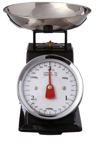 Balance de cuisine mécanique - Effet vintage avec bol amovible - Noire - Jusqu'à 3 kg