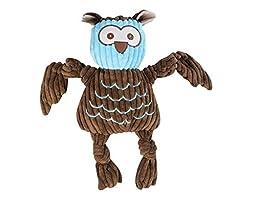 HuggleHounds Plush Corduroy Durable Woodland Knottie Owl Pet Toys, Large
