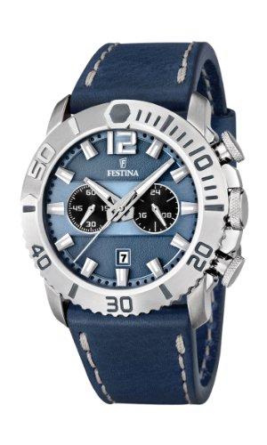 Festina F16614/2 - Reloj cronógrafo de cuarzo para hombre con correa de piel, color azul