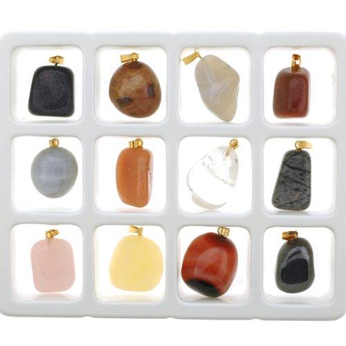 Set of 12 Semi-Precious Gemstone Pendants - Necklace