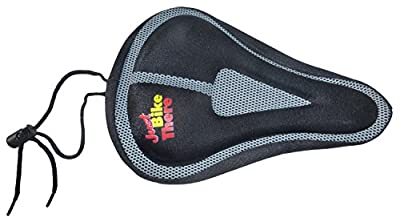 Bike Seat Cover - Best Padded Mountain and Road Memory Foam Bicycle Saddle Cushion Pad for Exercise Comfort - Unisex Men and Women - Adult and Youth - Share Your Enthusiasm with the Just Bike There Logo